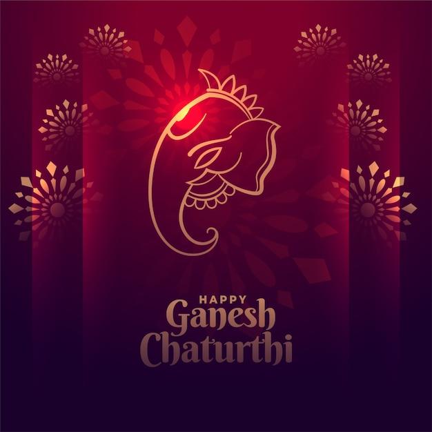 Felice ganesh chaturthi festival design lucido carta Vettore gratuito