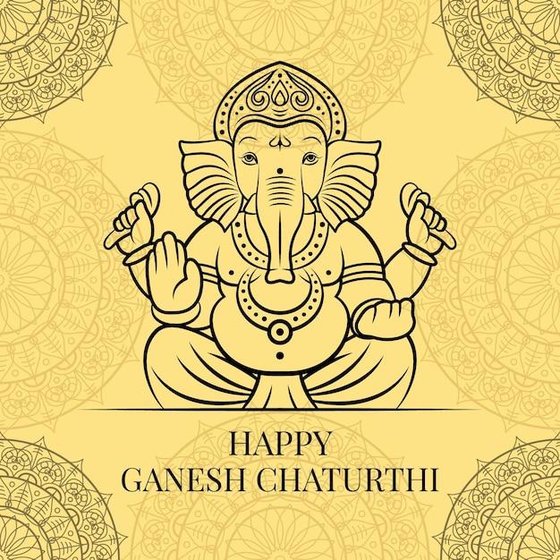 Ganesh ji vector with black outline