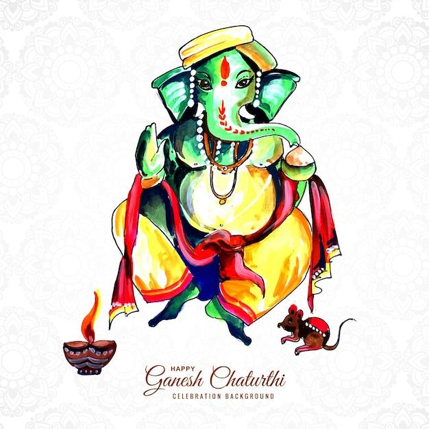 Felice ganesh chaturthi festival indiano card design creativo Vettore gratuito