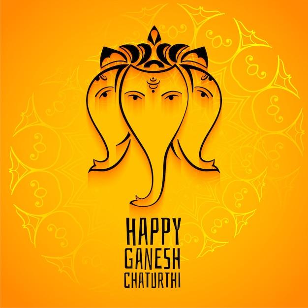 Happy ganesh chaturthi mahotsav celebration greeting template Free Vector