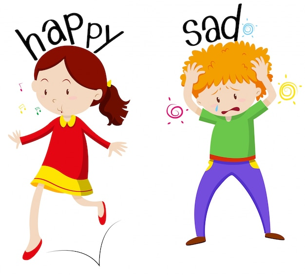 Happy girl and sad boy Free Vector