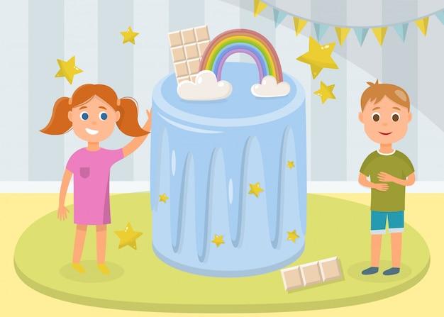 Happy girl and boy standing near huge festive cake Premium Vector