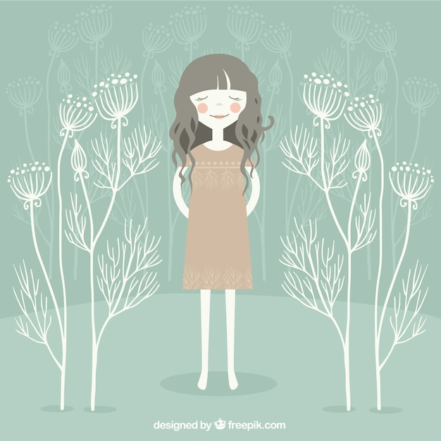 Happy girl cartoon Free Vector