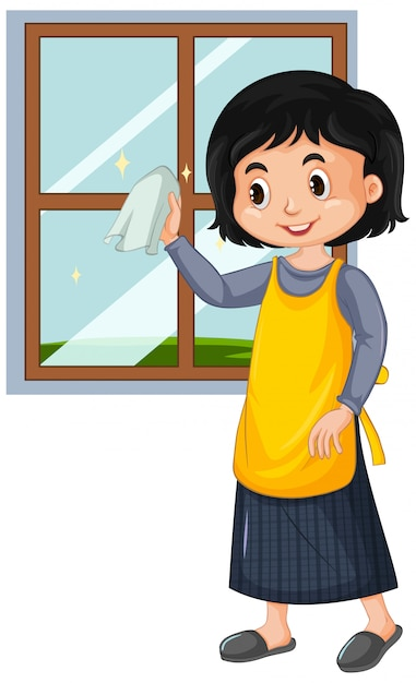 Happy girl cleaning window on white background Free Vector