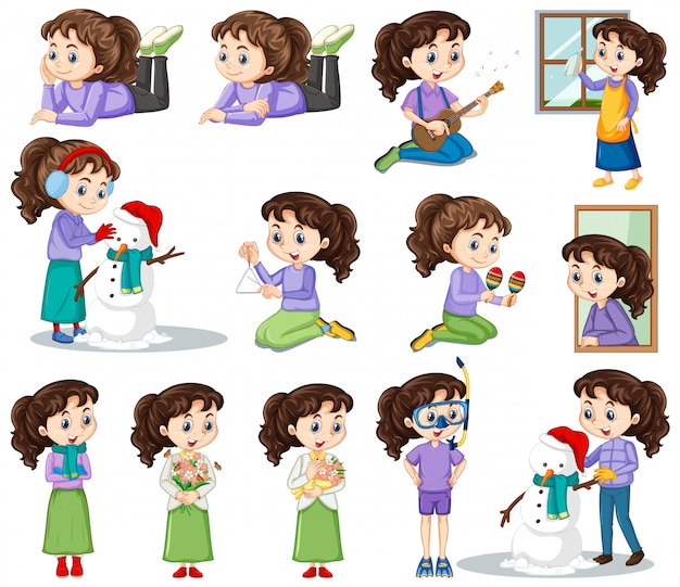 Happy girl in different actions Free Vector