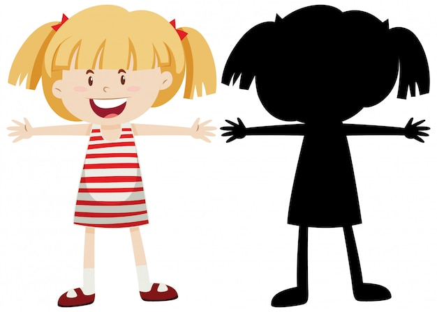 Happy girl extends the arms with its silhouette Free Vector