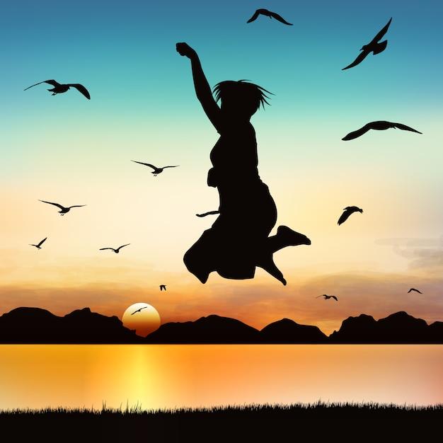 실루엣 소녀에 점프 행복 소녀입니다. 프리미엄 벡터