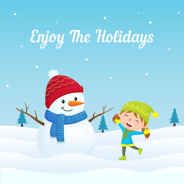 Happy girl kid jump playing with cute snowman in winter season background Premium Vector