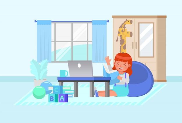컴퓨터 문자로 온라인 학습 행복 소녀입니다. 집 개념을 유지하십시오. 프리미엄 벡터