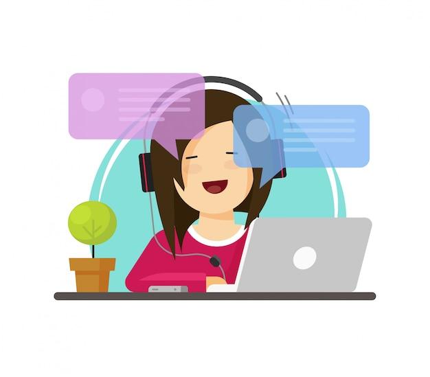 幸せな女の人仕事机の上のコンピューターで作業してフラット漫画スタイルのオンラインフォントビューベクトルをチャット Premiumベクター