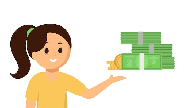 Happy girl pointing at money Premium Vector