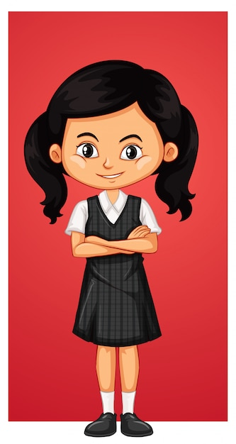 Happy girl in school uniform Free Vector