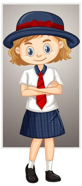 Happy girl in school uniform Free Vector
