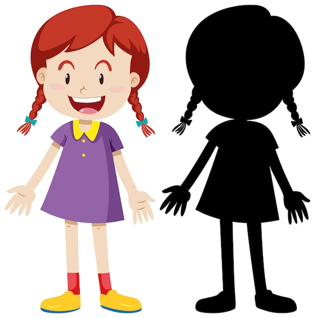 Happy girl standing position with its silhouette Free Vector