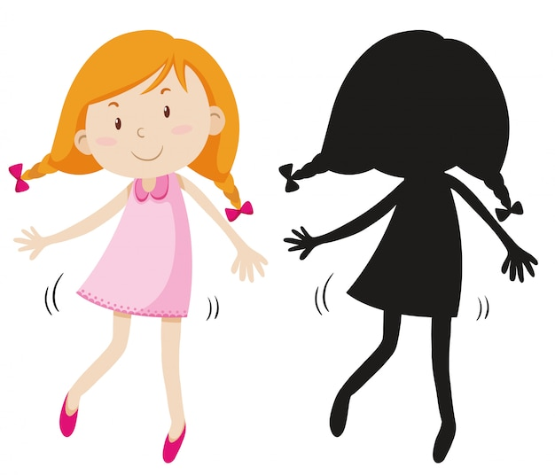 Happy girl wearing cute dress with its silhouette Free Vector