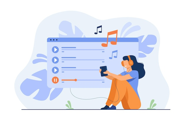 Счастливая девушка в наушниках, наслаждается плейлистом, слушает музыку на мобильном телефоне, поет песни Бесплатные векторы