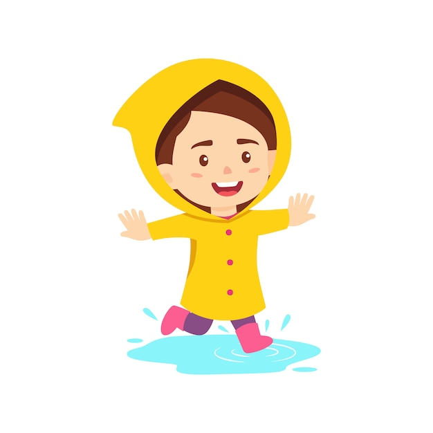 Happy girl wearing raincoat Premium Vector