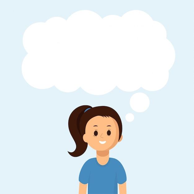 Happy girl with big speech bubble, cloud. social communication Premium Vector
