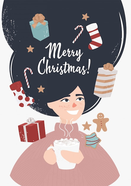 Happy girl with cocoa surrounded by christmas gifts Premium Vector
