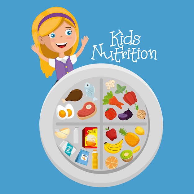 Happy girl with nutrition food Premium Vector