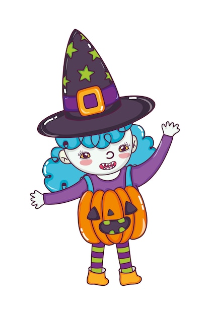 Happy girl with pumpkin costume and witch hat Premium Vector