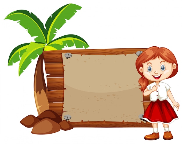 Happy girl and wooden sign Free Vector