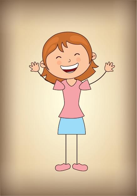 Happy girl Free Vector