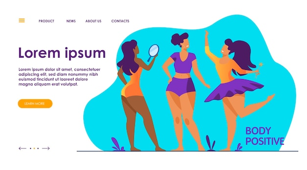 Happy girls admiring their bodies flat vector illustration. body positive female characters smiling each other. active women with plus size figures. different beauty, fashion and healthy lifestyle Free Vector
