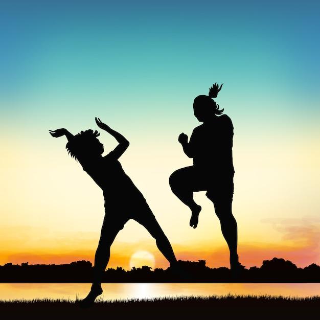 행복 한 여자는 실루엣 예술에 뛰어 오르고있다. 프리미엄 벡터