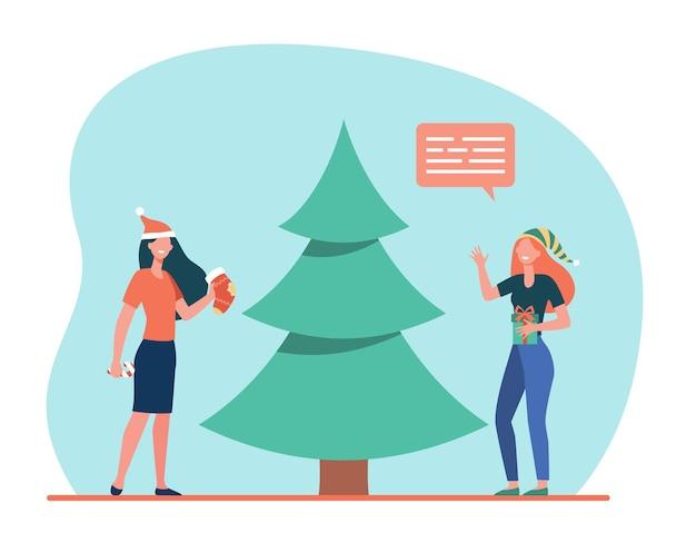 クリスマスツリーを飾る幸せな女の子 無料ベクター