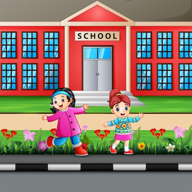 Happy girls on school building Premium Vector