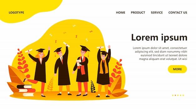 Счастливый выпускников плоская иллюстрация Premium векторы