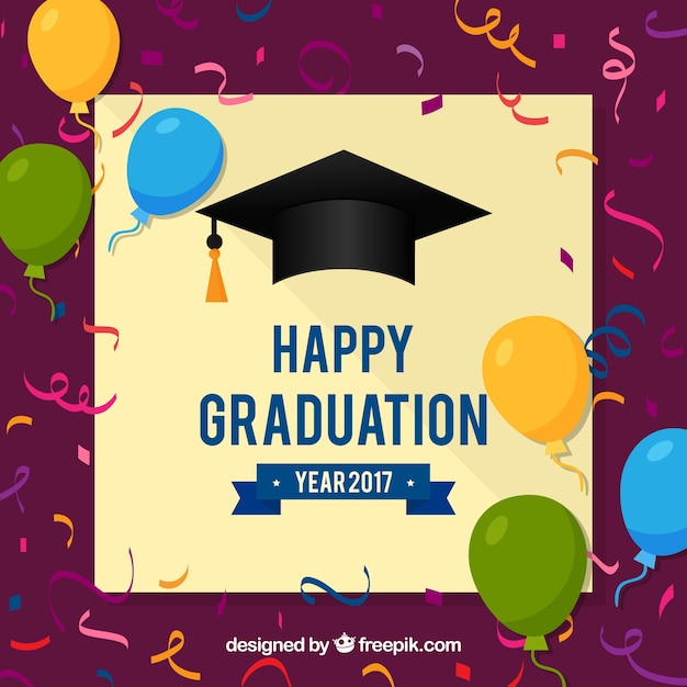 happy graduation background with balloons and confetti