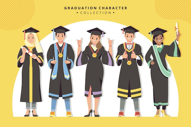 Happy graduation character collection Premium Vector