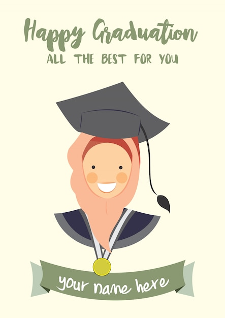 Happy graduation congratulation template card Vector ...