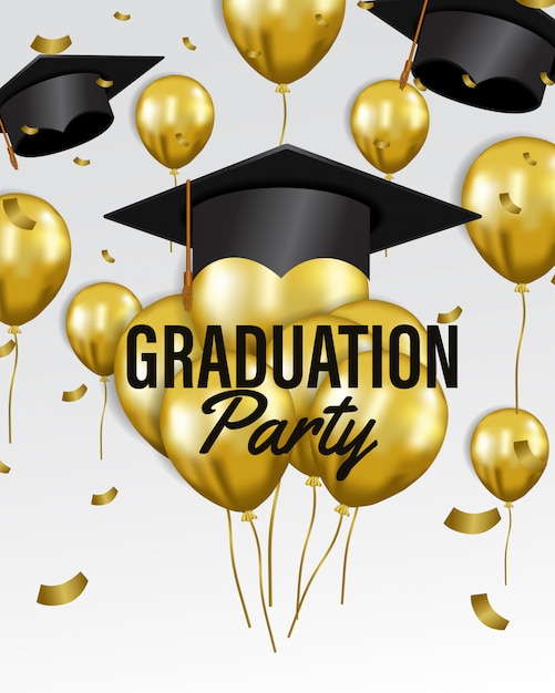 Happy graduation party celebration Premium Vector