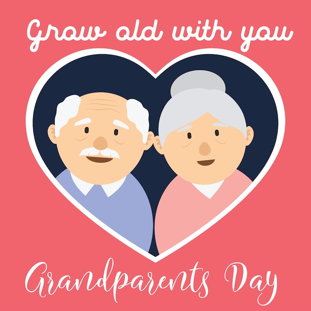 Happy grand parents day for older persons concept Premium Vector
