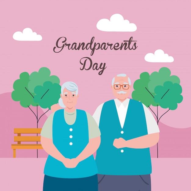 Счастливый день бабушек и дедушек с милыми старшими парами в дизайне иллюстрации парка Premium векторы