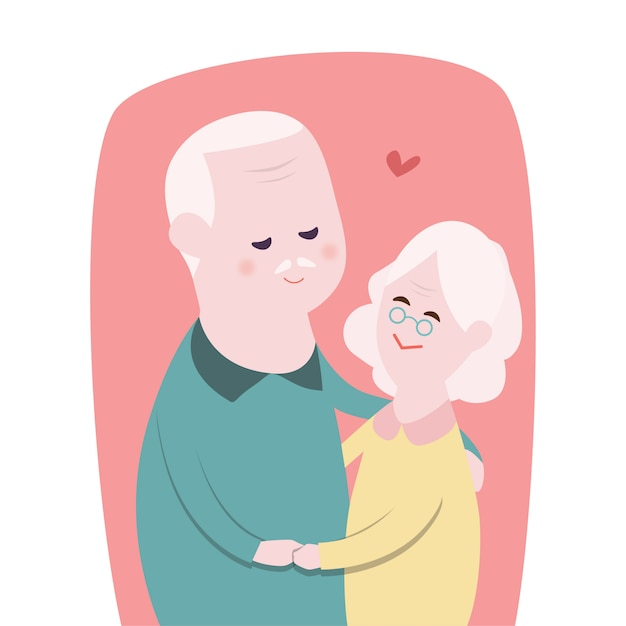 Happy grandmother and grandfather Premium Vector