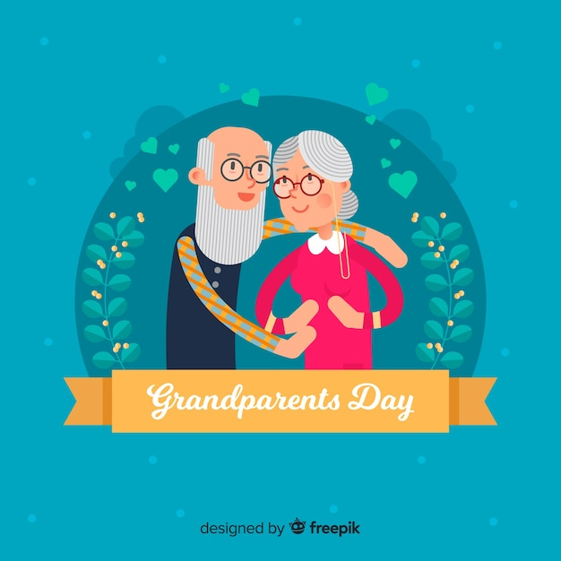 Happy grandparents day background in flat design Free Vector