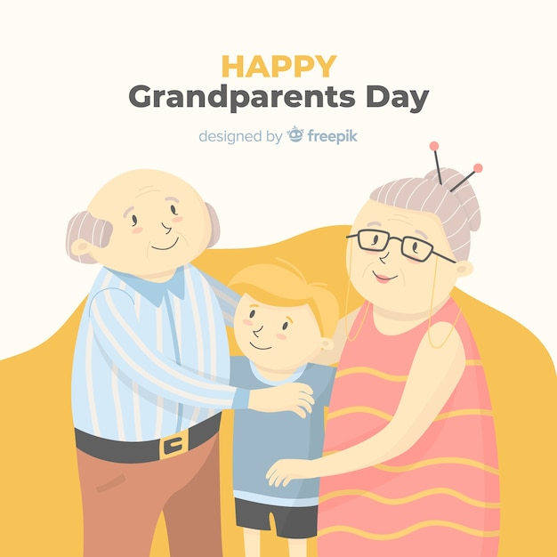 Happy grandparents day background in hand drawn style Free Vector