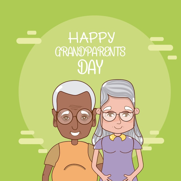 Happy Grandparents Day Card With Cute Couple Cartoons Vector