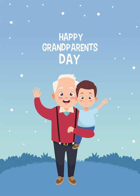 Happy grandparents day card with grandfather and grandson Premium Vector