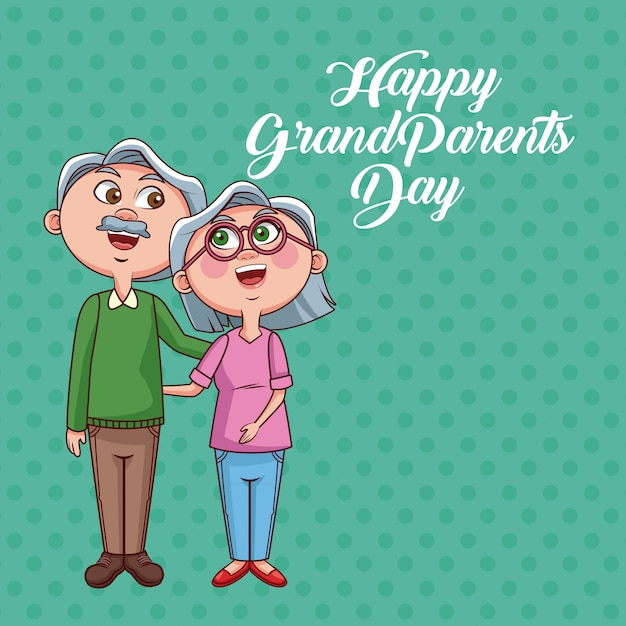 Happy grandparents day card Premium Vector