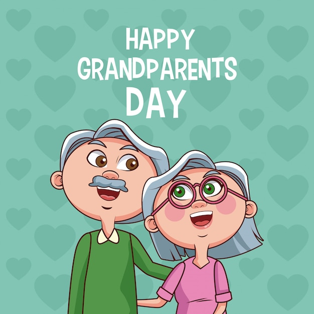 Happy grandparents day card Premium Vector