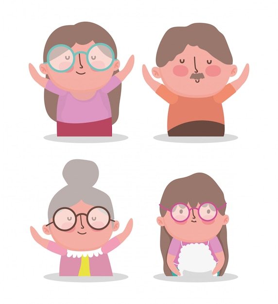 Happy grandparents day cartoon Premium Vector