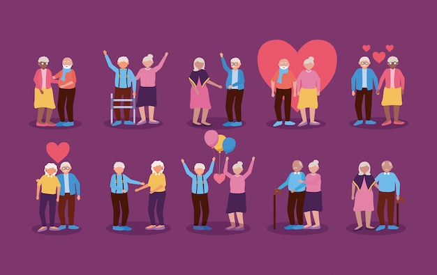 Happy grandparents day flat design Free Vector