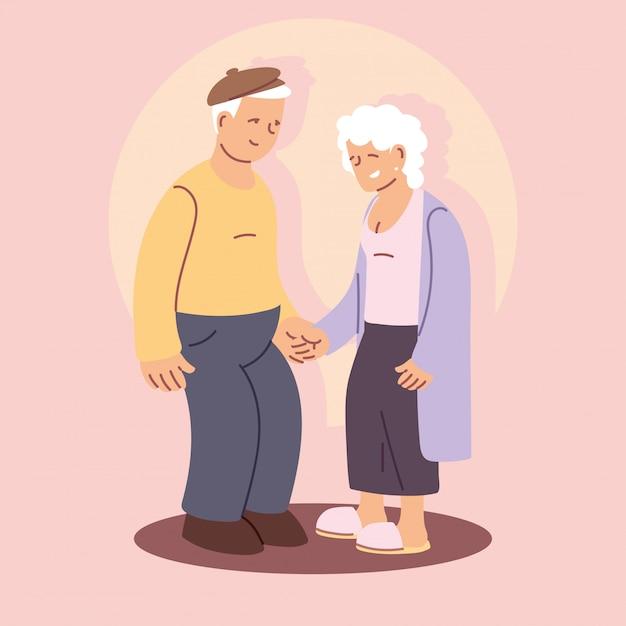 Happy grandparents day, grandpa and grandma, elderly couple holding hands Premium Vector