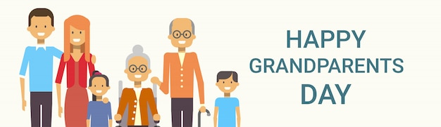 Happy grandparents day greeting banner big family together Premium Vector