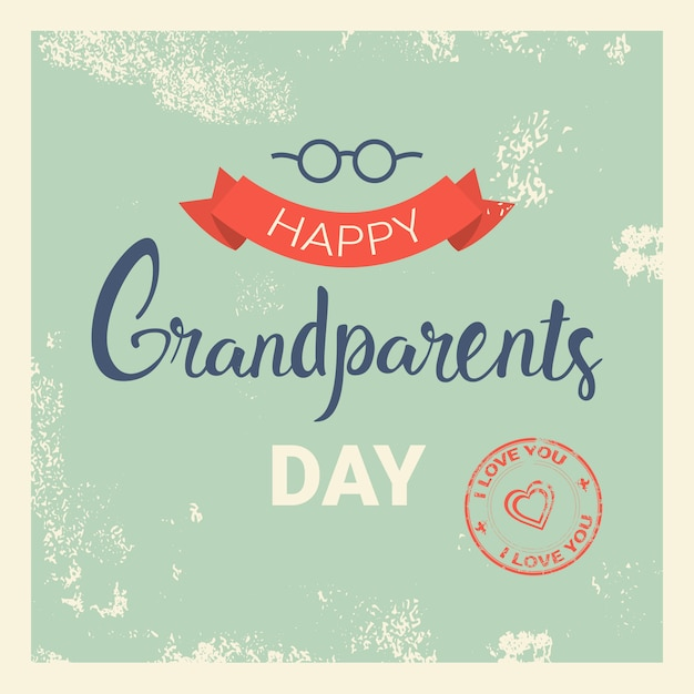 Happy grandparents day greeting card banner Premium Vector